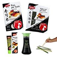 Kit per sushi fai da te (riso, alghe nori, salsa wasabi, salsa di soia, bacchette)