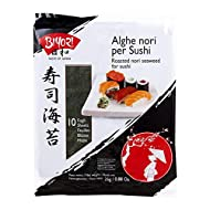 Biyori - Alghe Nori per Sushi - 10 Fogli tostate ed essiccate pronte all'uso per sushi o brodi, legumi e stufati